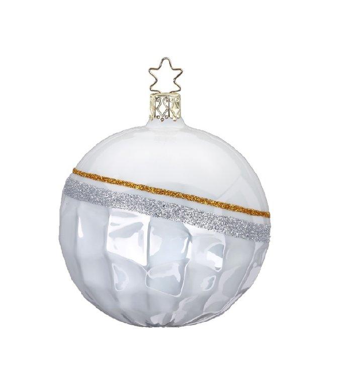 Hippe natuurlijke Fancy kerstbal 8,5 cm