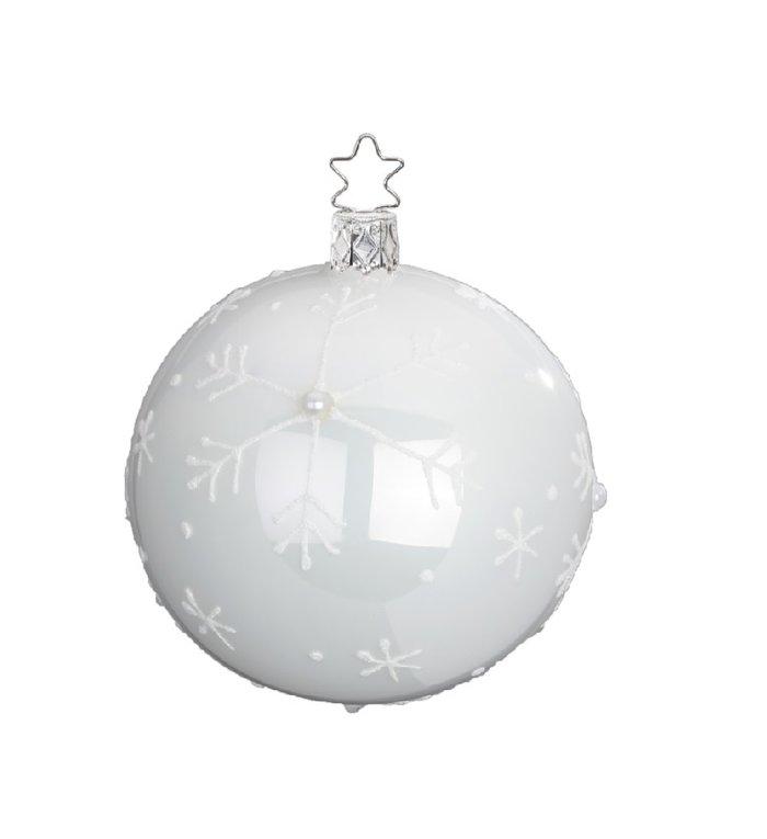 Vallende sneeuw witte kerstbal 8 cm