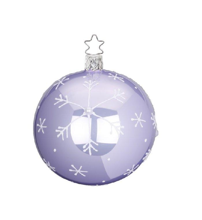 Vallende sneeuw licht paarse kerstbal 8 cm