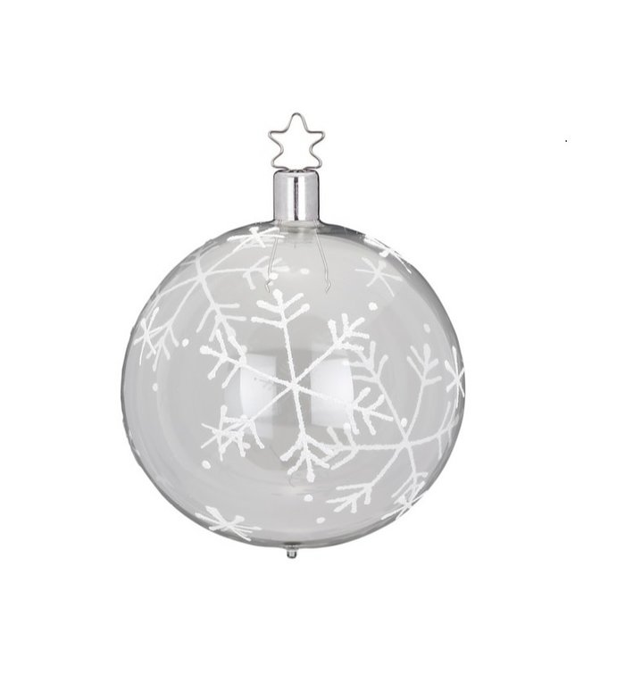 Transparante vallende sneeuw kerstbal 8 cm