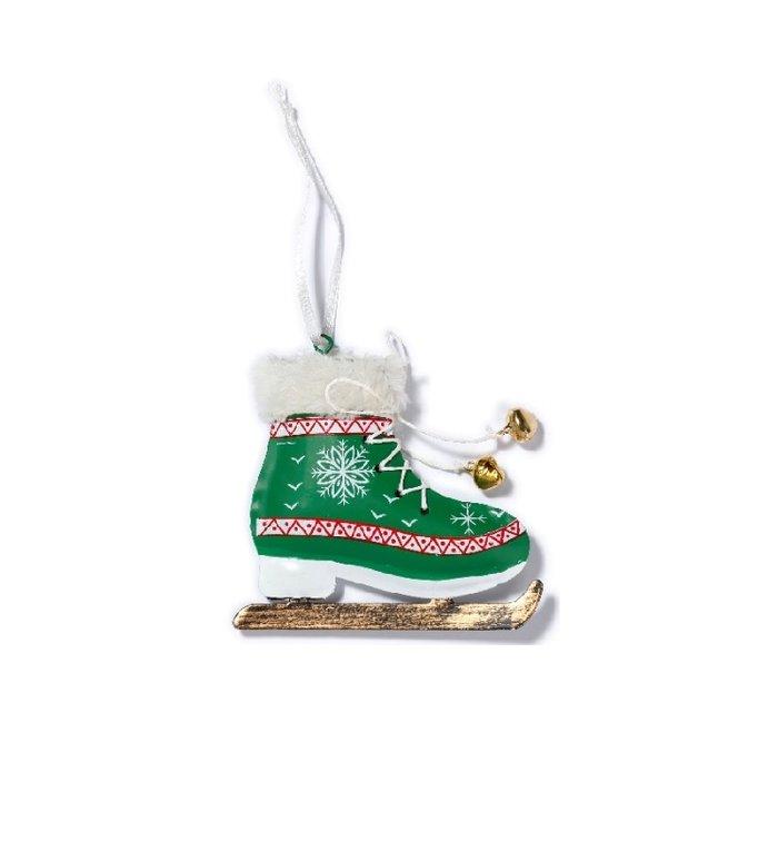 Groene metalen schaats kerstboom decoratie