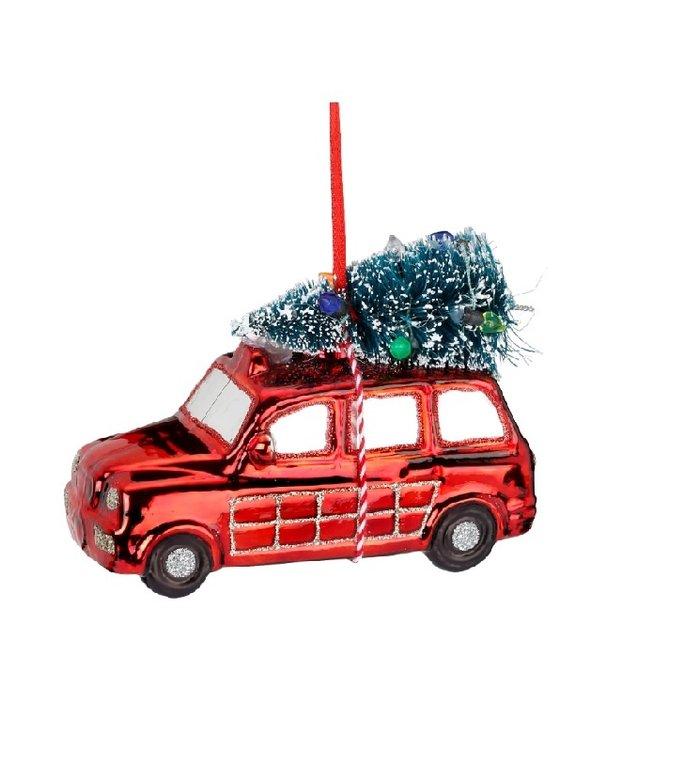 kerstauto glazen kerstboom decoratie rood 12 cm