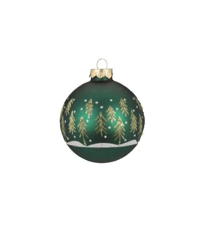 Set van 3 - Glazen groene kerstballen met winterbos motief 8 cm