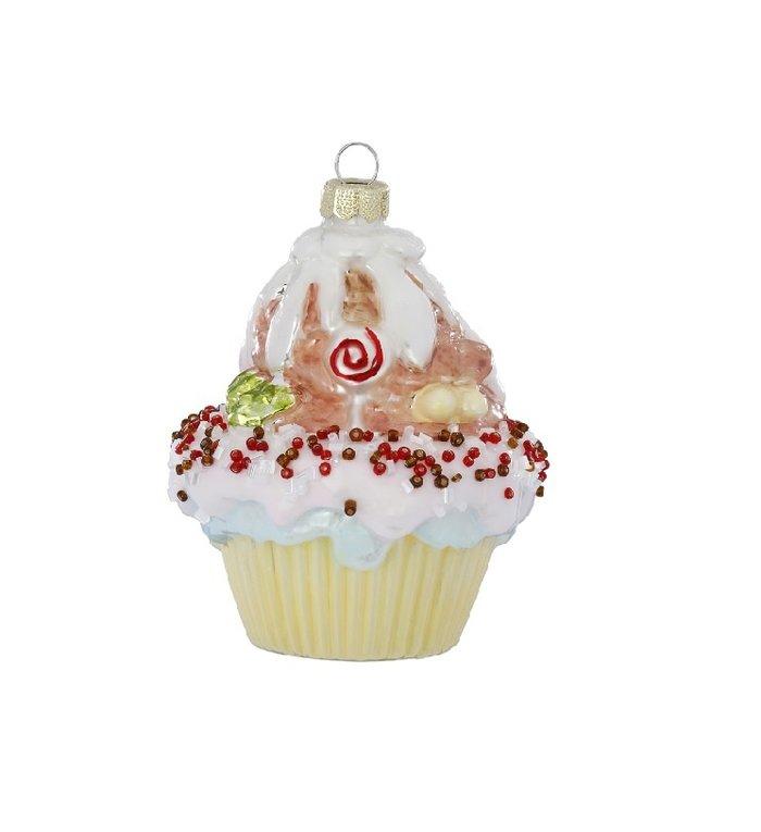 Cupcake met strooisels kerstboom decoratie 10 cm