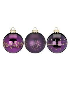 Shiny Purple Kerstballen - set van 3