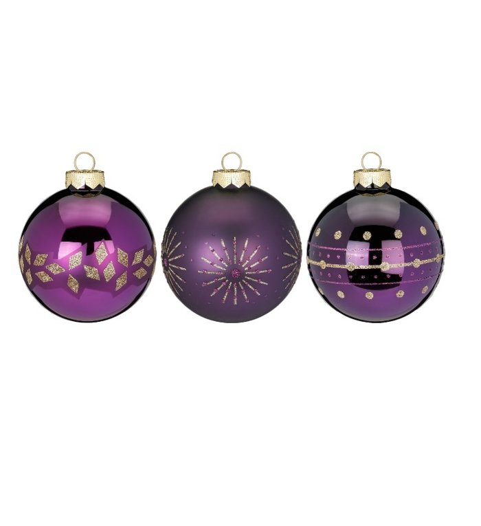 Set van 3 - Glazen kerstballen glinsterend paars 8 cm