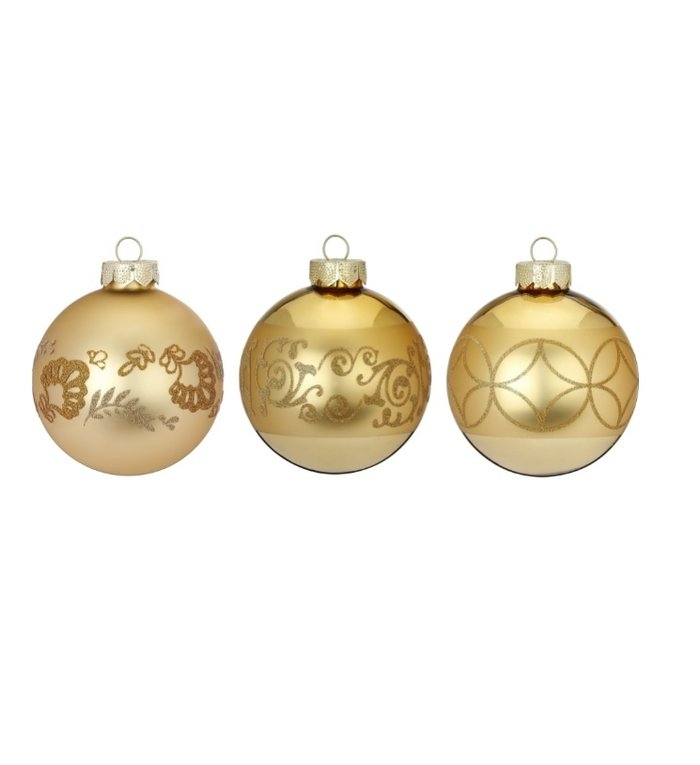 Set van 3 - Glazen kerstballen glinsterend goud 8 cm