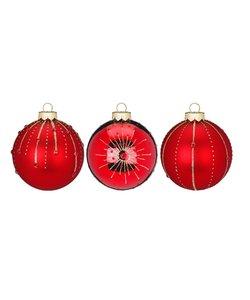 Rood Deluxe Kerstballen - set van 3