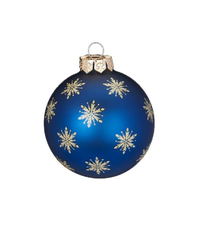Set van 3 - Glazen blauwe kerstballen Sterren aan de Hemel 8 cm