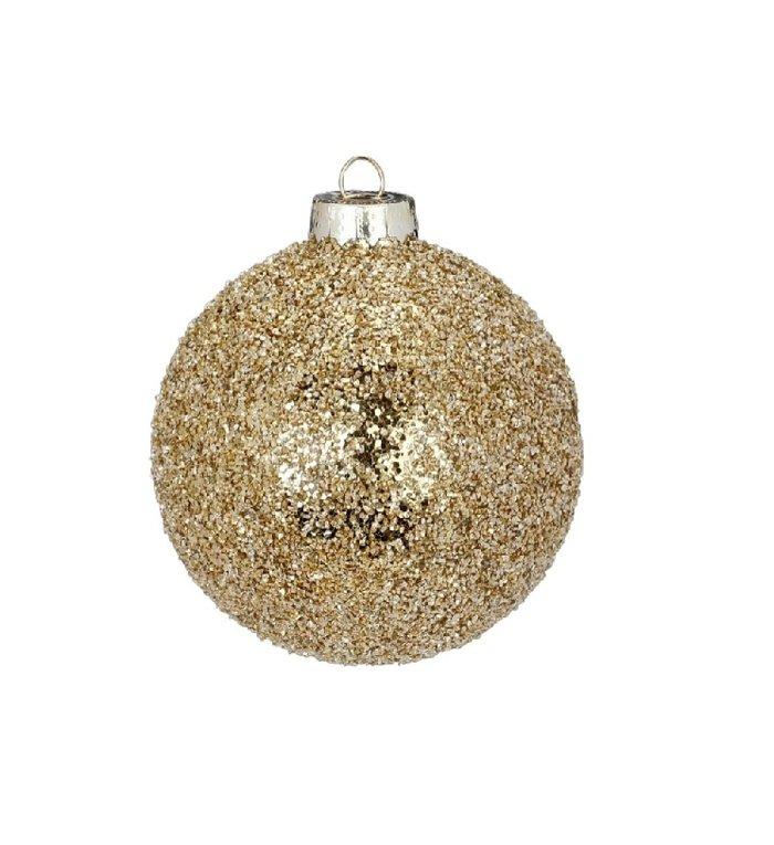Glazen kerstbal Glinsterend Goud 8 cm