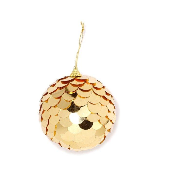 Grote kerstbal met gouden pailletten 10 cm