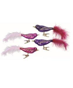 Kerstboomdecoratie Vogeltjes Roze en Paars
