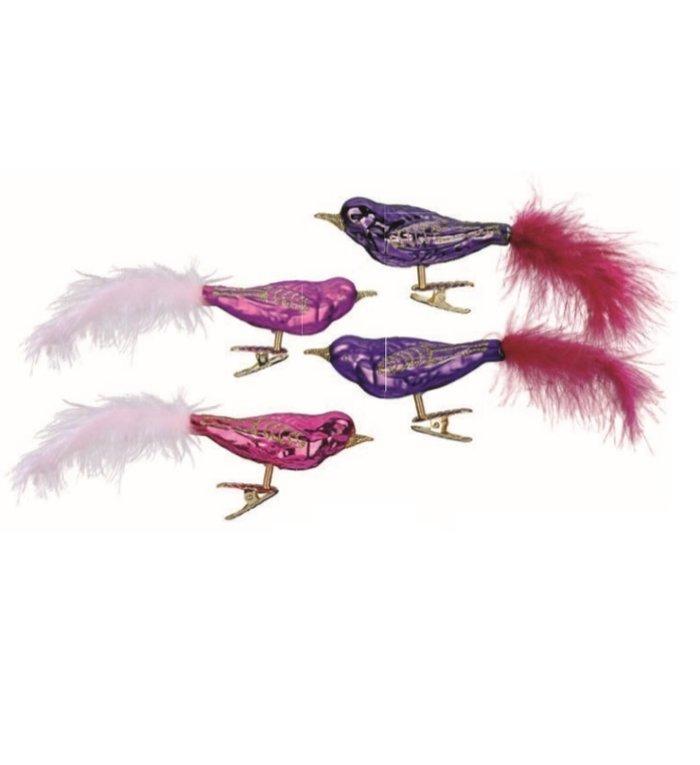 Set van 4 - Glazen paarse en roze vogels op kerstboomknijper 9 cm