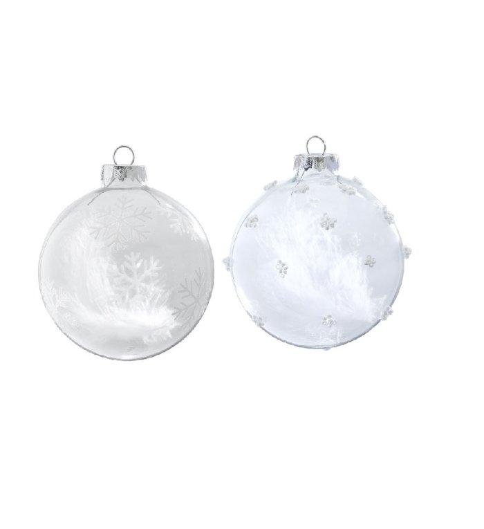 Set van 2 glazen transparante kerstballen met een veertje 8 cm