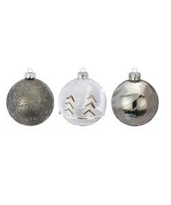 Grijze Kerstballen Mountain  - set van 3