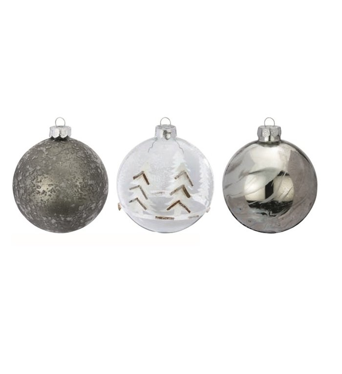 Set van 3 - Glazen grijze kerstballen in berg thema 8 cm