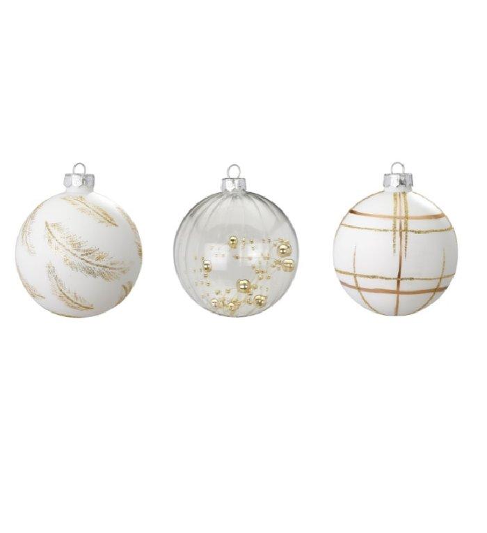 Set van 3 - Glazen kerstballen Golden Touch 8 cm