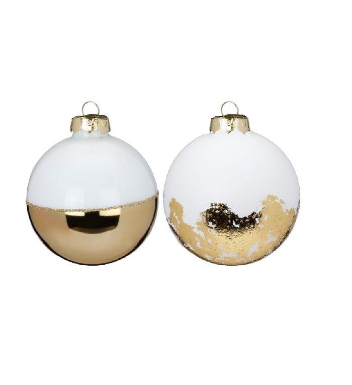 Set van 2 glazen  kerstballen wit en goud Super Chique 8 cm