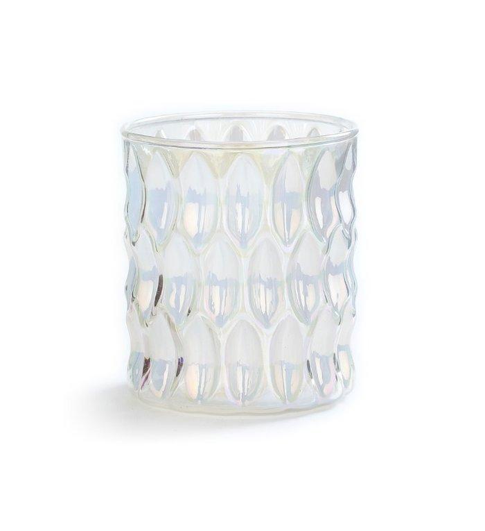 Glazen waxinelichtjeshouder iriserend wit 9 cm