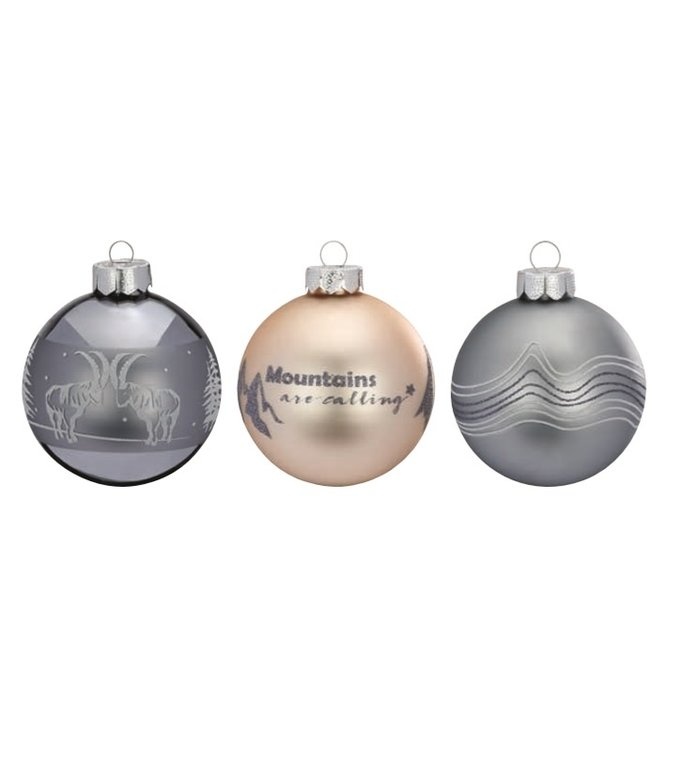 Set van 3 - grijze en beige kerstballen het beste uit de bergen 8 cm
