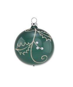 Kerstbal Varen Groen met Hulsttakjes