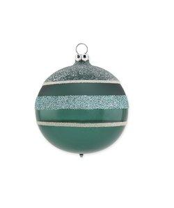Kerstbal Varen Groen met Glitter Strepen