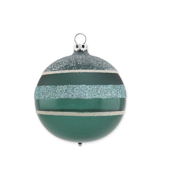 Kerstbal glitter stripes varen groen 8 cm
