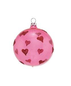Kerstbal Roze Heel Veel Hartjes