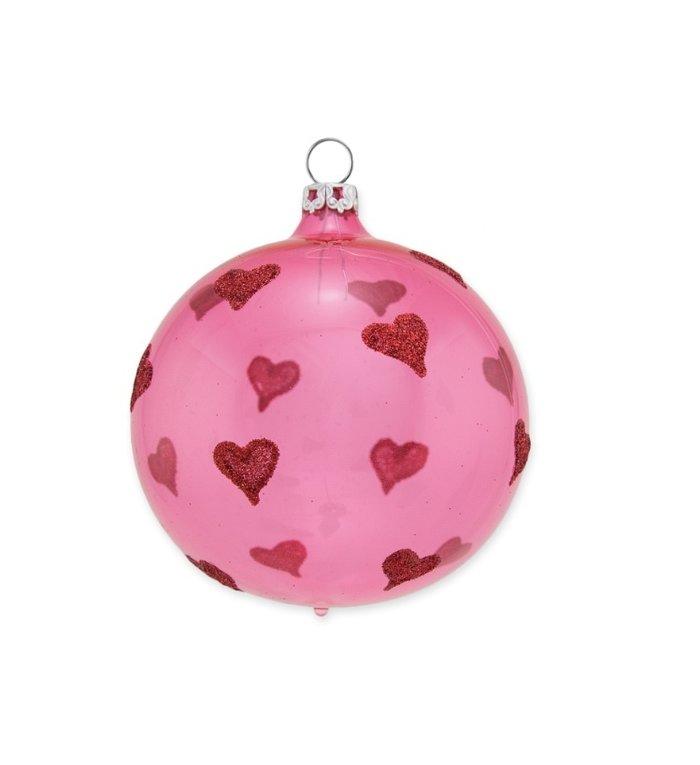Glazen transparante kerstbal 8 cm roze Heel veel hartjes