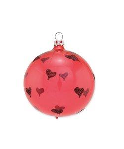 Kerstbal Koraal Rood Heel Veel Hartjes