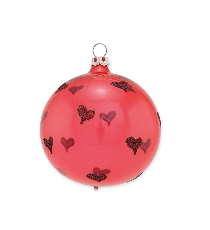 Glazen transparante koraal rode kerstbal 8 cm Heel veel hartjes