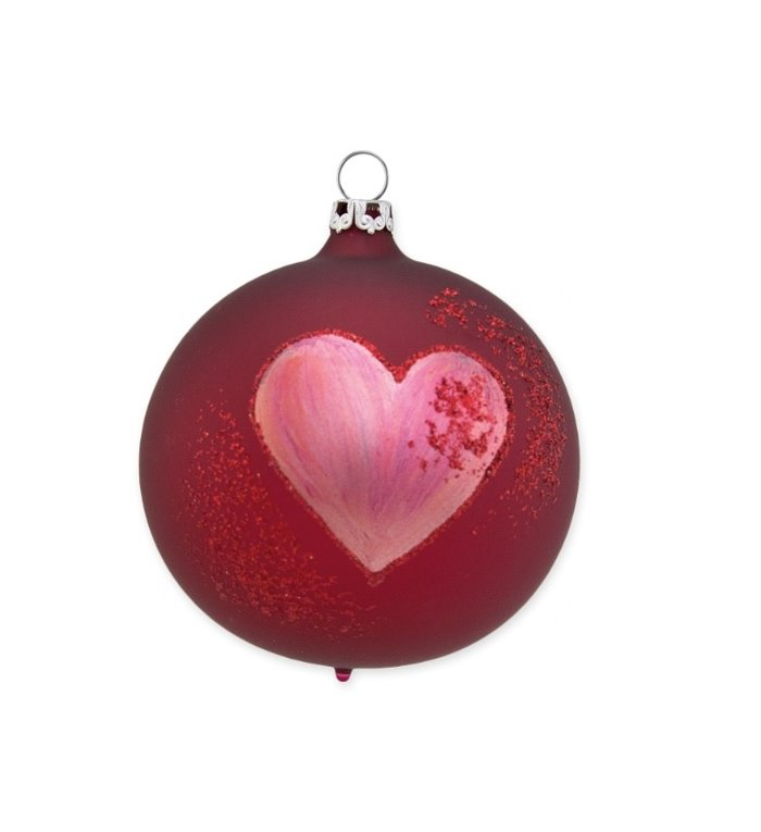 Glazen kerstbal 8 cm - Big Heart kersenrood