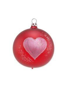 Kerstbal Satijn Rood Groot Hartje