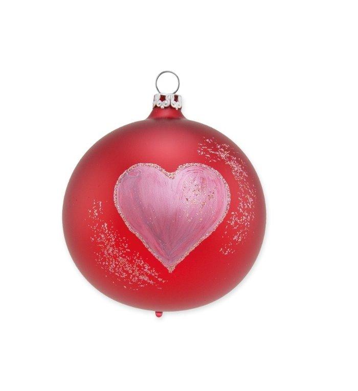 Glazen satijn rode kerstbal 8 cm met groot hart