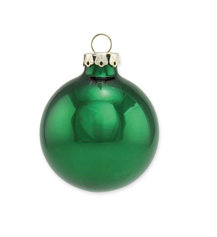 Set van twee effen glanzende spar groene kerstballen 10 cm