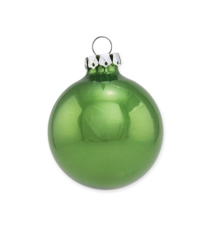 Set van twee effen glanzende helder groene kerstballen 10 cm