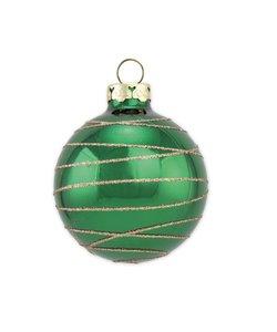 Kerstbal Spar Groen met Gouden Glitter Lijntjes
