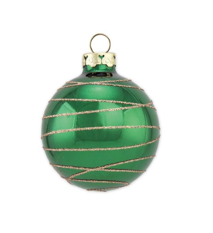 Spar groene kerstbal met gouden glitter lijnen 8 cm