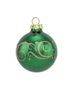 Kerstbal Spar Groen met Gouden Glitter Decoratie