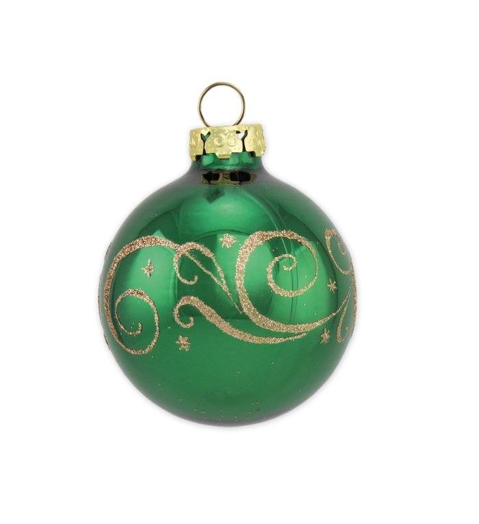 Spar groene kerstbal met gouden glitter decoratie 8 cm