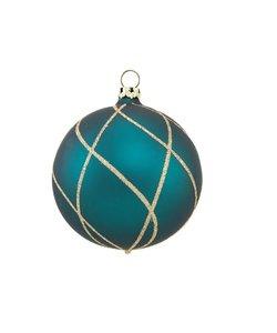 Kerstbal Petrol Blauw met Gouden Ruitennet