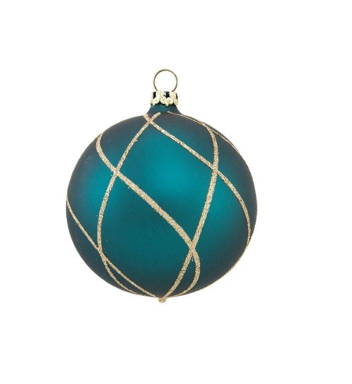 Petrol blauwe kerstbal met gouden ruitennet 8 cm