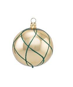 Kerstbal Goud met Blauw Ruitennet