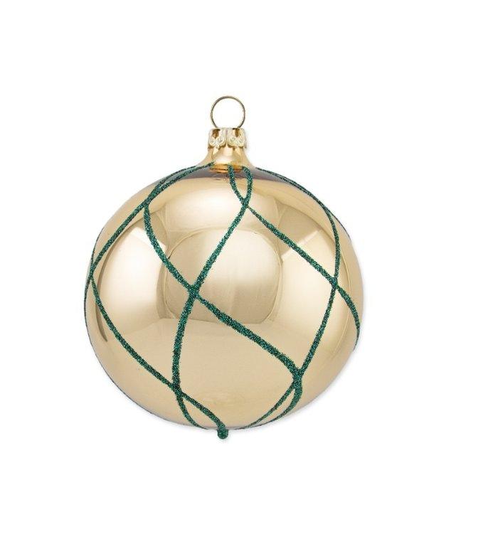 Gouden kerstbal met blauw ruitennet 8 cm