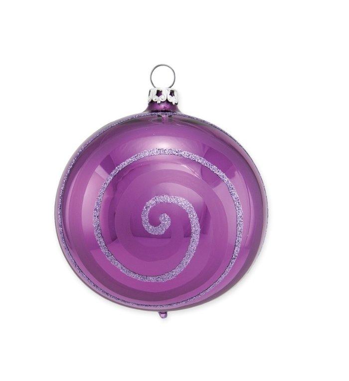 Paarse kerstbal met glitter spiraal 8 cm