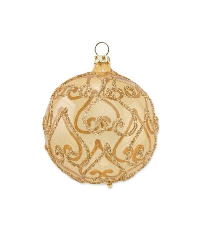 Gouden transparante kerstbal met omgekeerde gouden karten 8 cm