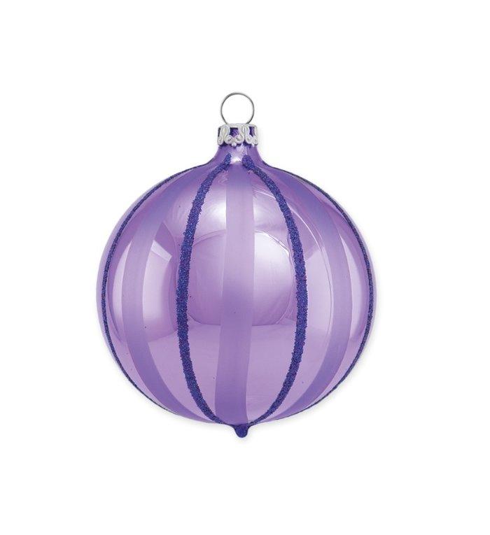 Lila kerstbal met paarse regen 8 cm