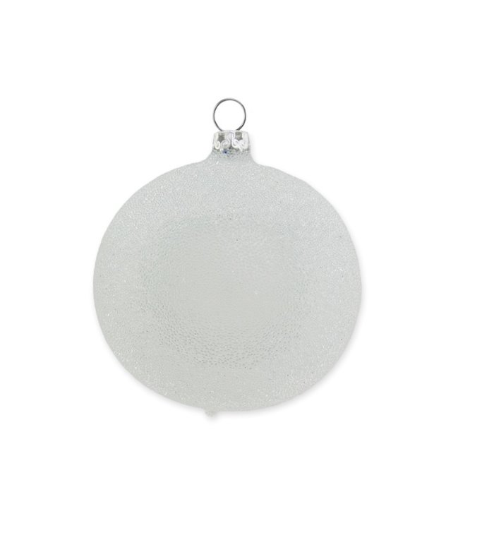Parel grijze glinsterende dauw kerstbal 8 cm