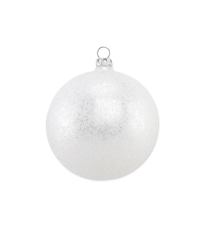 Zilveren kerstbal met ijskristallen 8 cm