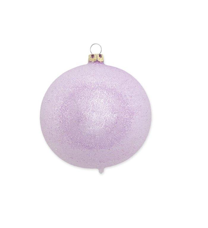 Violet / licht paarse glinsterende dauw kerstbal 8 cm